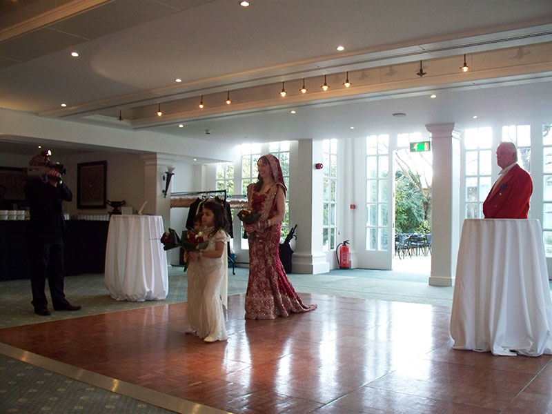 Toastmaster with Bride at Indian Wedding